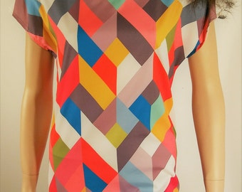 Vintage Women's 60's Inspired Geo Chevron Colorful ColorBlock Rainbow Mini Shift Dress  by EVYLEEN  Size M