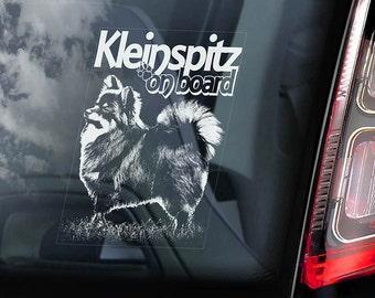 Klein Spitz on Board - Car Window Sticker - Deutscher German Spitz Dog Sign Decal - V01