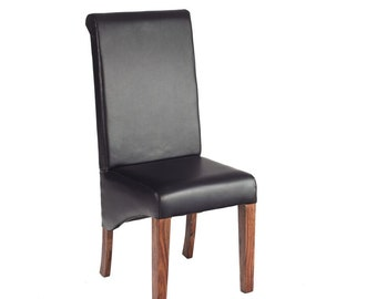 Cube leather + wooden handcrafted dining chair - Honey stain finish
