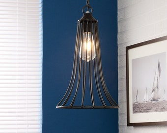 Iron cone cage hanging lamp - Galvanized metal