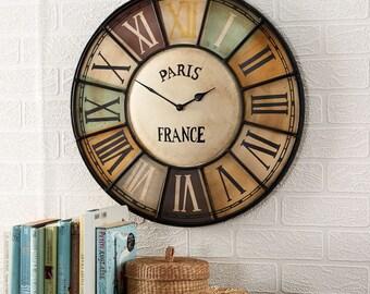 Chalet wall clock - Industrial vintage style metal