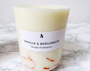 Scented candle vanilla & bergamot 300ml - 100% soy wax - organic essential oil - Handmade - Organic Scented Candle natural