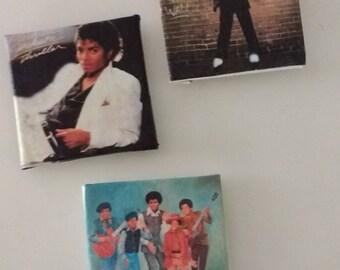 Set of three Handmade magnets Michael Jackson and the Jackson Five.