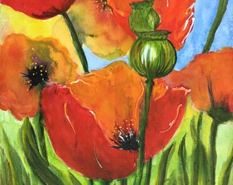 Poppy watercolor on canvas