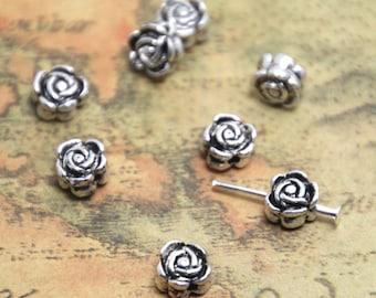 30pcs silver Tone tiny rose flower beads,Beadwork Charms/pendant 7mm ASD1417