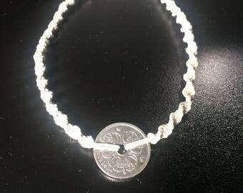 Danish 1 krone macramé hemp bracelet