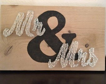 Mr. and Mrs. Sign, wedding gift, wedding decor, rustic decor, Mr and Mrs, &, string art, wood burned