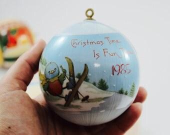 SALE - Set of 5 Vintage Christmas Sattin Balls - 1985 / 1987/ 1988/ 1989 / 1991, Christmas Ornaments