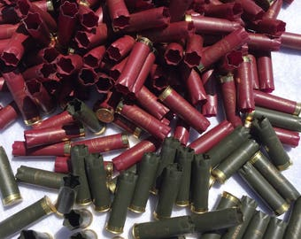 Empty 12 ga shotgun shells casings cartridges - All matching - Olive green and red in color
