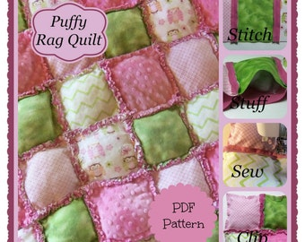 PDF Pattern:  Puffy Style Baby Rag Quilt