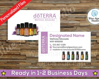 doTERRA Business Cards Printable Personalized Custom Customized Essential Oil Oils Full Color Photo Bottles Printed Glossy Matte DTR-BC107