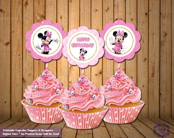 Minnie Mouse Cupcake Toppers.Minnie Mouse Cupcake Wrappers. Minnie Mouse Party.Pink Minnie Mouse Party Printable.Party Supplies.Minnie Mouse