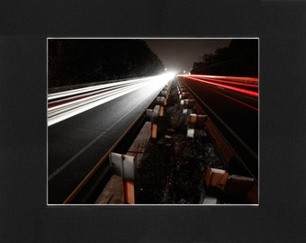 """Custom Matted Print 0101.  """"Highway at Night"""" - Collectable Photographic Artwork. (11"""" x 14"""")"""