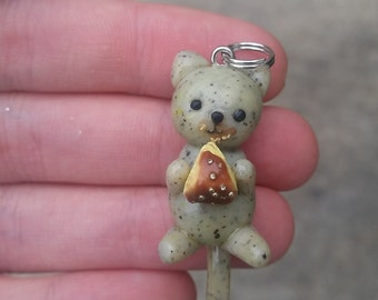 Cat eating cake necklace pendant