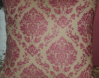 Pillow.  Nurseru decor. Kids room decor .Silver Pink damask. Crystalline Solid Pink.