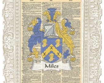 Miles Family English crests art print. Family English coat of arms. Vintage Print