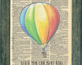 Rainbow Hot air Balloons art. Jules Verne book quote. Jules Verne art print. Vintage print