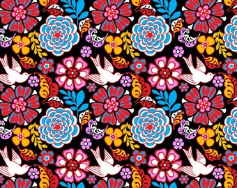 Folk floral black pigeons cotton fabric patchwork quilting fabric for dress style Mexican deco cushions fabric upholstered