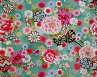 NAMI to Mari japanese fabric fabric fabric fabric turquoise gold asian kimono Japanese blythe patchwork quilting fabric
