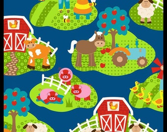 Navy farm Vignettes fabric patchwork patterned cloth cotton infant animals American fabric fabric fabric fabric fun