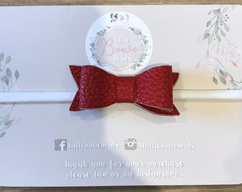 """RED """"Maddie"""" Bow, Faux leather,  Baby Bow Headband, Newborn Headband, Infant Headband, Baby Girl Headband, Nylon Headband, Baby Girl Bows"""