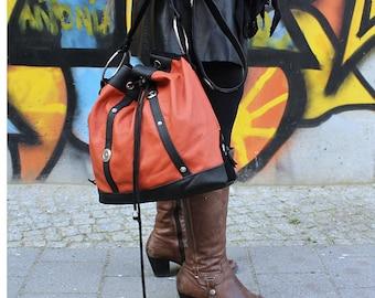 Draw string, match bag, conchos, leather bag, shoulder bag