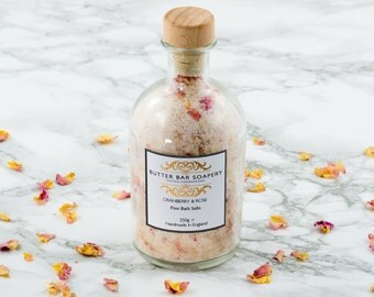Rose Bath Salts, Luxury Soothing Bath Soak, Cranberry, Relaxing Spa, Gift, Pink, Rose Petals, Epsom, Dead Sea Salt, Bath Beauty Aromatherapy