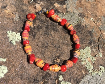 Fossilized coral and paper bead bracelet