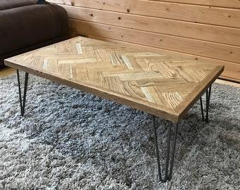 Oak Herringbone Coffee Table Parquet Vintage Style Hairpin Legs