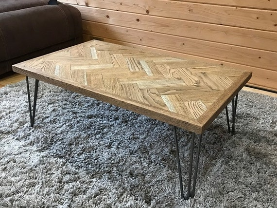 Oak Herringbone Coffee Table Parquet Vintage Style