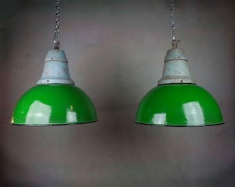 Green Enamel Lamp Shades, Vintage Pendant Lights, Old Factory Lamps