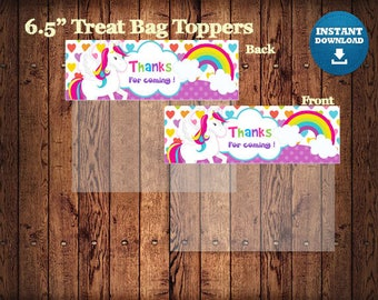 Unicorn Treat Bag Toppers