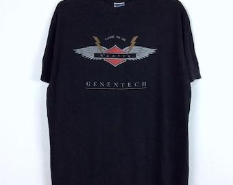 Vintage 90s Genentech Clone or Die T-Shirt GAATTC Biotech DNA Biotechnology Scientist Future