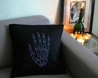 """Hand"" hand sewn and hand embroidered pillow cover"