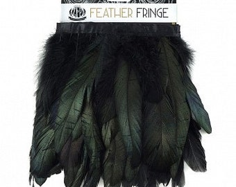 1 Yard Iridescent Coque Feather Fringe - Natural or Dyed Black - FCQ6 1YD