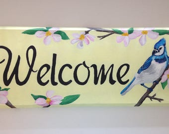 Blue Jay Welcome | Sign | Hand Painted | Welcome | Canadian Art | Recycle |