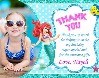 Little Mermaid Thank You Card Ariel Birthday Party
