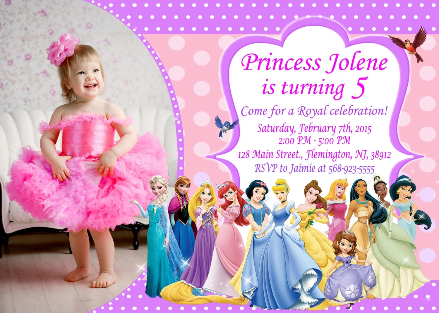 Disney Princess Invitation Birthday Party from LookFunny on Etsy – Disney Photo Birthday Invitations