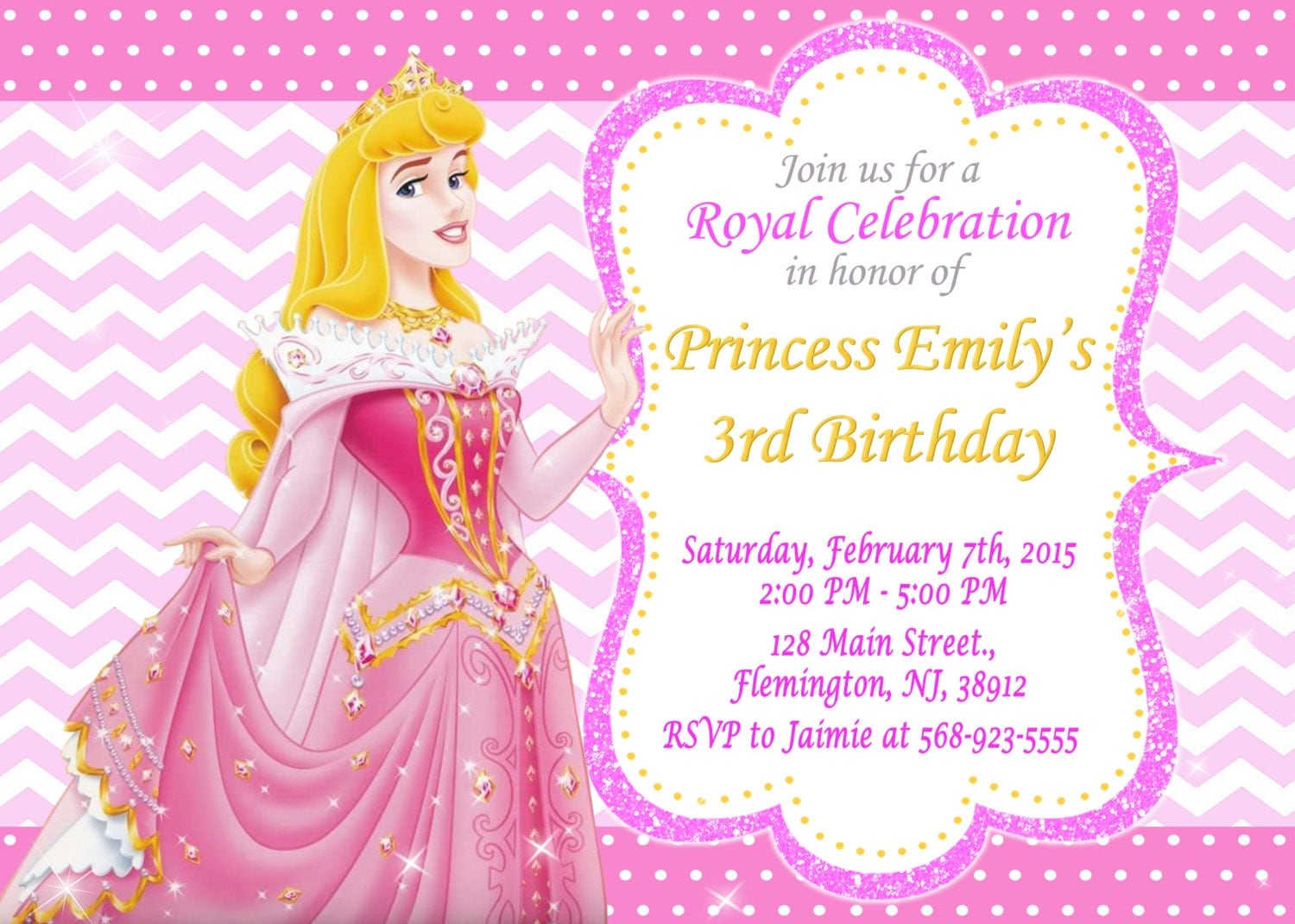 Sleeping Beauty Princess Aurora Invitation Birthday Party – Sleeping Beauty Party Invitations