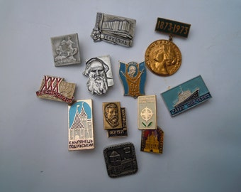 Old Ukraine badges pins. Metal badges 1970-1990s. Set of 12 badges.