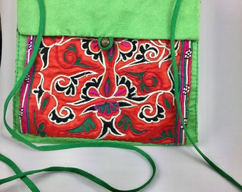"""Clearance!Embroidered Bag,Tibetan Art,Tibetan Embroidery,One Piece in the World,Valuable Art Collection,Bag Size 7.2""""X7.2"""",FREE SHIPPING"""