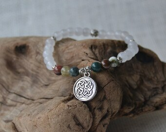 Snow Quartz and Jasper Stretch Bracelet with Silver Plated Celtic Knot Charm