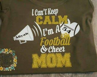 Football, Cheerleading Mom,  T-Shirt,  Cheer Mom,  Football Mom,  Cheerleader