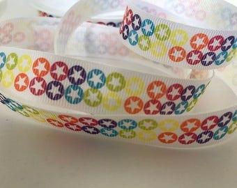 Star print ribbon, grosgrain ribbon, fun and bright ribbon, rainbow colours, sewing and craft ribbon