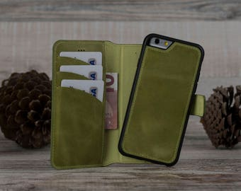 Mom Gift, Leather iPhone 6 Case, iPhone 6 Leather Case, iPhone 6S Case, iPhone 6S Leather Case, Detachable Magnet Wallet Case, Green Case
