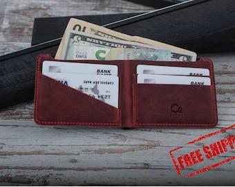 Leather wallet, handmade mens wallet, personalized leather wallet, mens leather wallet, gifts for boyfriend, mens wallets, red &black wallet