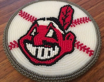 Cleveland Indians sports team beaded medallion