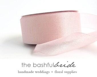Blush pink ribbon, 5 yards, pearl pink ribbon, blush wedding, pink decor, blush wedding, iridescent pink, pearl pink, sparkly pink ribbon