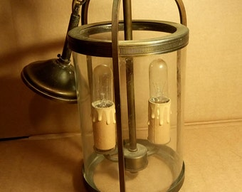 French Vintage  Hanging Lantern,glass and brass,light,home decor,lighting, industrial