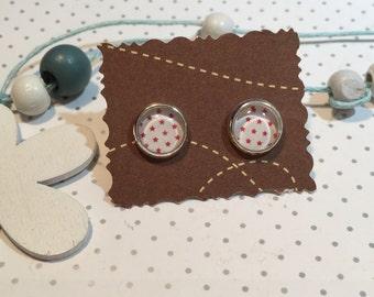 Earrings cabochon earrings stars red